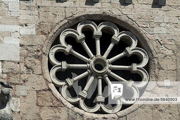 Stein, Fenster, Wand, Italien, Rose, Umbrien
