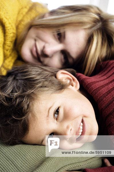 Portrait  Entspannung  Sohn  Mutter - Mensch