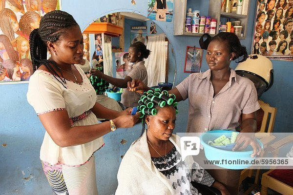 Hairdressing workshop  Lome  Togo  West Africa  Africa