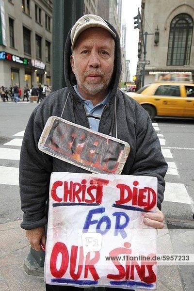 Street preacher  New York  United States of America  North America