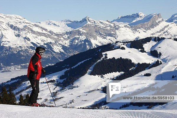 Skier in Megeve  Haute Savoie  French Alps  France  Europe