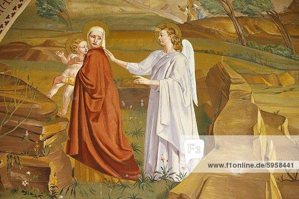 Gemälde über das Massaker der unschuldigen geordnet nach Herod in der Visitation-Kirche in Ein Kerem  Israel  Naher Osten