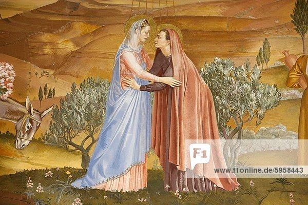 Malerei der Heimsuchung in der Visitation-Kirche in Ein Kerem  Israel  Naher Osten