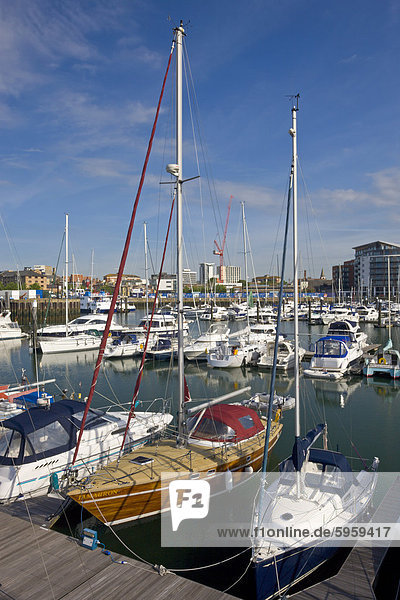 Yachts moored at Ocean Village Marina  Southampton  Hampshire  England  United Kingdom  Europe