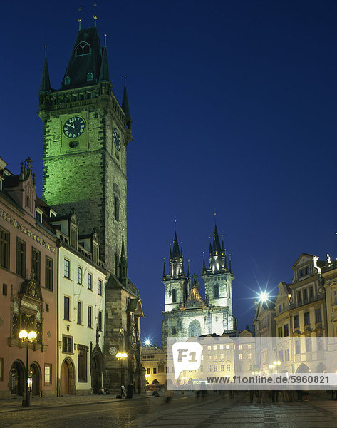 The Old Town Hall and Gothic Tyn church illuminated at night in the city of Prague  Czech Republic  Europe