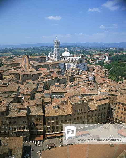 Houses and churches on the skyline of the town of Siena  UNESCO World Heritage Site  Tuscany  Italy  Europe