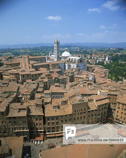 Skyline Skylines Europa Gebäude Stadt Kirche UNESCO-Welterbe Italien Siena Toskana