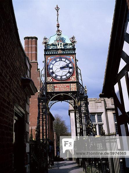 Eastgate Uhr  Chester  Cheshire  England  Vereinigtes Königreich  Europa