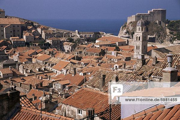 Roofscape  Old City  Dubrovnik  UNESCO World Heritage Site  Dalmatia  Croatia  Europe