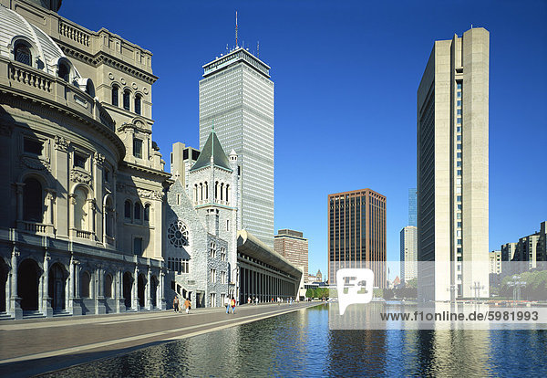 Church and modern office buildings on the skyline of Boston  Massachusetts  New England  United States of America  North America