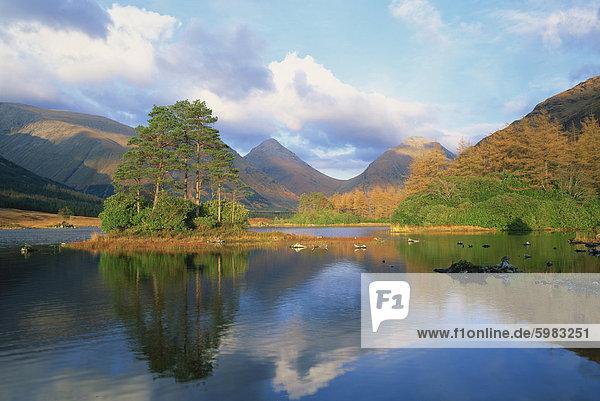 Loch in Glen Etive  Highlands  Schottland  Vereinigtes Königreich  Europa