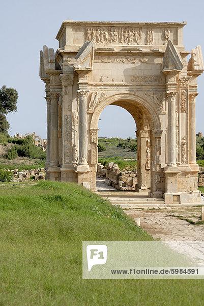 Bogen des Septimius Severus  Leptis Magna  UNESCO World Heritage Site  Libyen  Nordafrika  Afrika