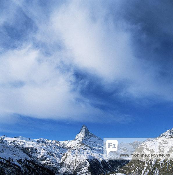 Das Matterhorn 4478m  Valais  Schweizer Alpen  Schweiz  Europa