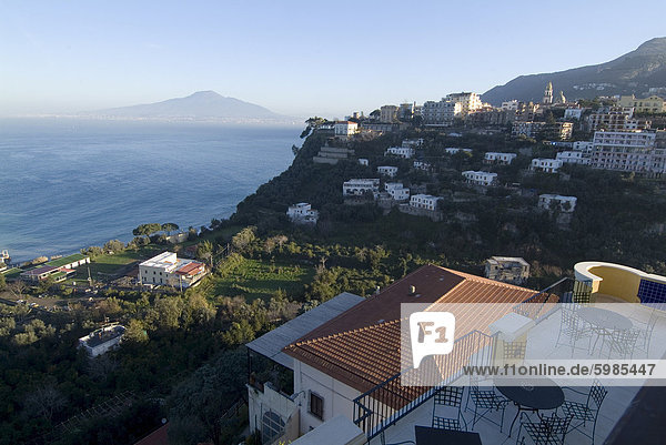 View towards the town of Vico Equense  with Mount Vesuvius in the background  near Naples  Campania  Italy  Mediterranean  Europe