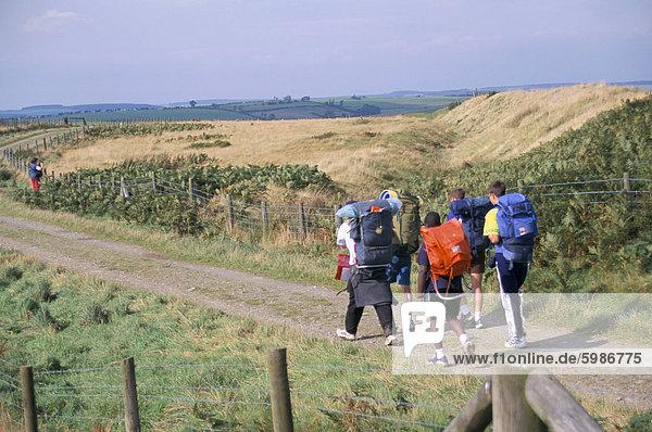 Wanderer auf Offa's Dyke  Llanfair Hill  Shropshire  England  Vereinigtes Königreich  Europa