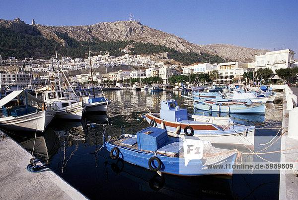 Boote bei Pothia  Kalymnos  Dodecanese Inseln  griechische Inseln  Griechenland  Europa
