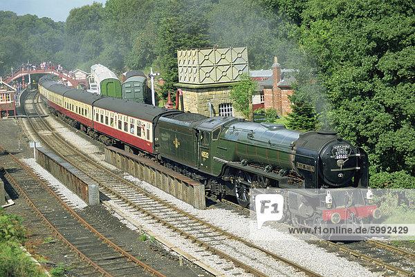 Zug auf North York Moors Railway  Goathland  North Yorkshire  England  Vereinigtes Königreich  Europa