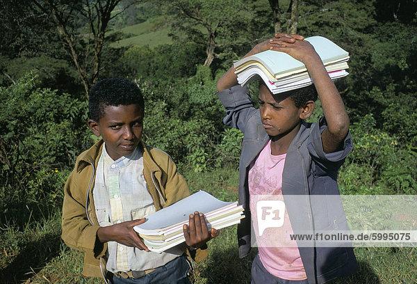Two boys in Oromo country  Bako region  Shoa state  Ethiopia  Africa