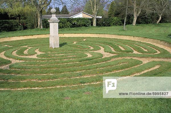 Rasen-Labyrinth aus 1660AD  Hilton  Cambridgeshire  England  Vereinigtes Königreich  Europa