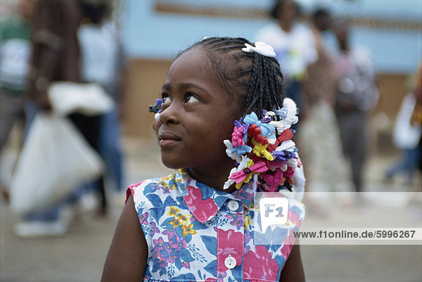 Little girl at the Steel Band Festival  Point Fortin  Trinidad  West Indies  Caribbean  Central America