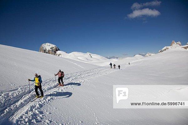 Skitouren Sie in den Dolomiten  Pale di San Martino  Cima Fradusta Aufstieg  Trentino-Alto Adige  Italien  Europa