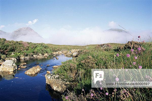 Frühen Morgennebel teilweise verdeckt Buachaille Etive Mor  einer der schottischen Munroes  Hochlandregion  Schottland  Vereinigtes Königreich  Europa