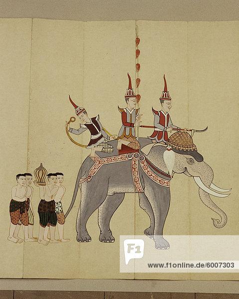 Thai Manuskript auf Elefanten  Thailand  Südostasien  Asien Thai Manuskript auf Elefanten, Thailand, Südostasien, Asien