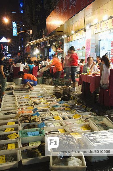 Im freien Fischmarkt und Restaurants der Region  Shanghai  China  Asien