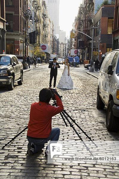 Hochzeit-Foto-Shooting in Soho  Manhattan  New York City  New York  Vereinigte Staaten von Amerika  Nordamerika