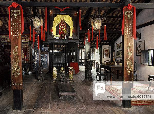Boden Fußboden Fußböden Wohnhaus Gebäude hängen chinesisch Händler 1 Altar Südostasien Vietnam Asien Jahrhundert
