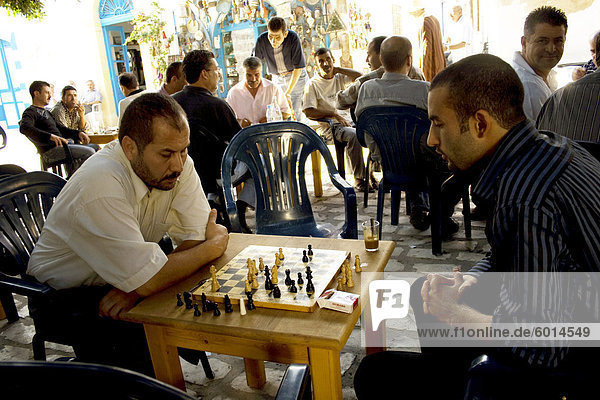 Cafe chess players  Mahdia  Tunisia  North Africa  Africa