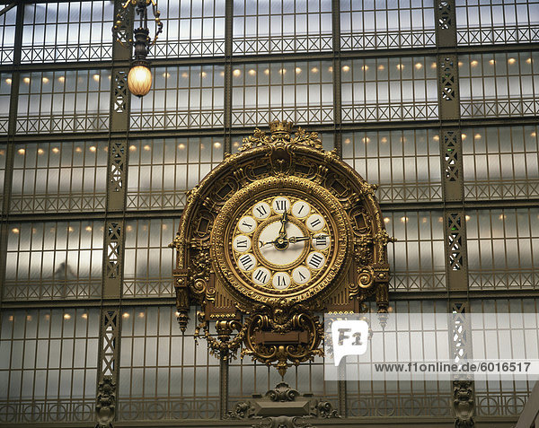 The clock in the Musee d'Orsay  Paris  France  Europe