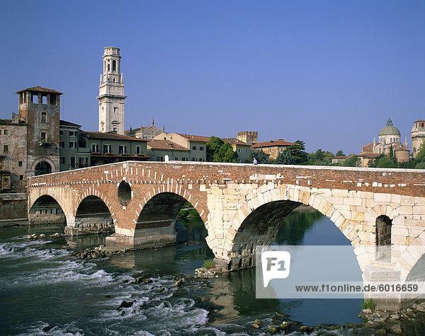The Pietra Bridge over the River Adige in the town of Verona  Veneto  Italy  Europe