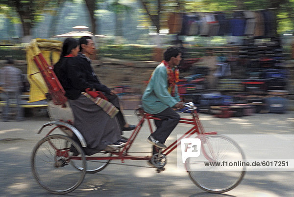 Trishaw Fahrgäste befördern  in Bodhgaya  Bihar Zustand  Indien  Asien