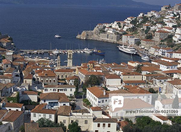Hydra port and town  Hydra  Greek Islands  Greece  Europe