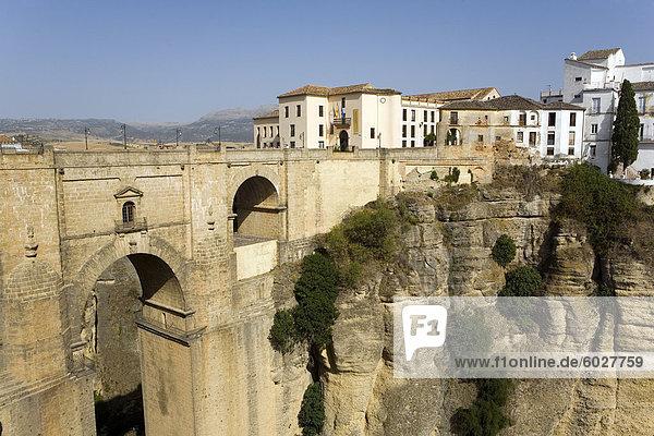 Neue Brücke  Ronda  Málaga Provinz  Andalusien  Spanien  Europa