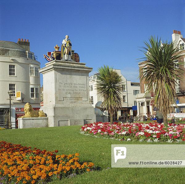König George III Statue und Gärten  Weymouth  Dorset  England  Vereinigtes Königreich  Europa