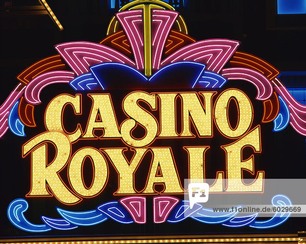 Close-up of neon sign for Casino Royale at night in Las Vegas  Nevada  United States of America  North America