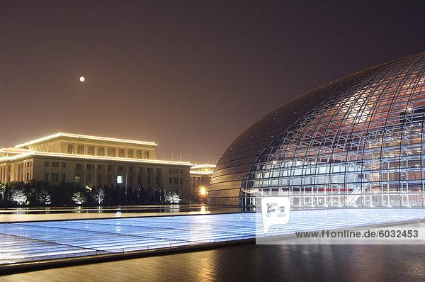 Mensch Lifestyle Menschen Glas französisch Wohnhaus Kontrast offen über Produktion Halle Architekt Mond Design Peking Hauptstadt groß großes großer große großen China Asien voll Oper