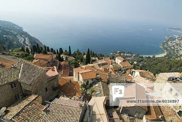 View over Mediterranean from Roquebrune  Alpes-Maritimes  Provence  Cote d'Azur  French Riviera  France  Europe