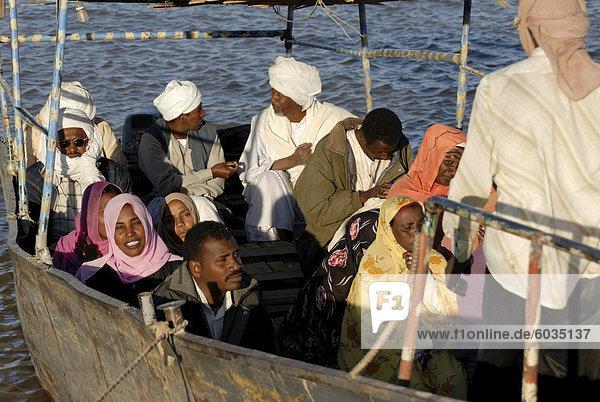 Fähre über den Fluß Nil in Sudan  Afrika