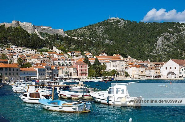 Hafen Europa Stadt Boot Insel Kroatien Dalmatien Hvar