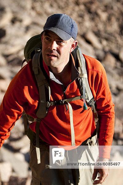 Mann  Felsen  wandern  Colorado