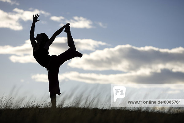 Silhouette  zeigen  Feld  Yoga  Wiese  Idaho  Pose