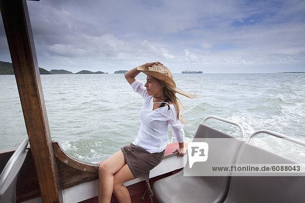 Frau  Entspannung  Hut  Boot  Brasilien  Cowboy