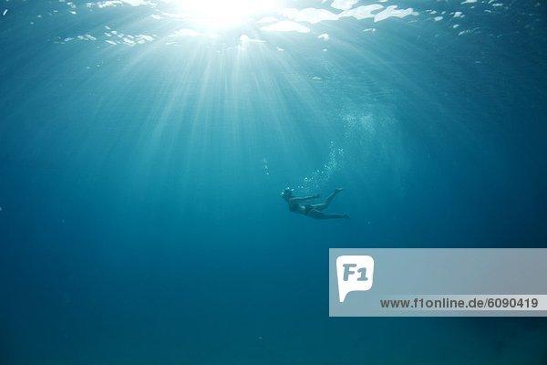 Tropisch Tropen subtropisch Wasser Frau folgen Unterwasseraufnahme Blase Blasen Insel Sonnenlicht Ansicht schwimmen Fiji verlassen Sonne