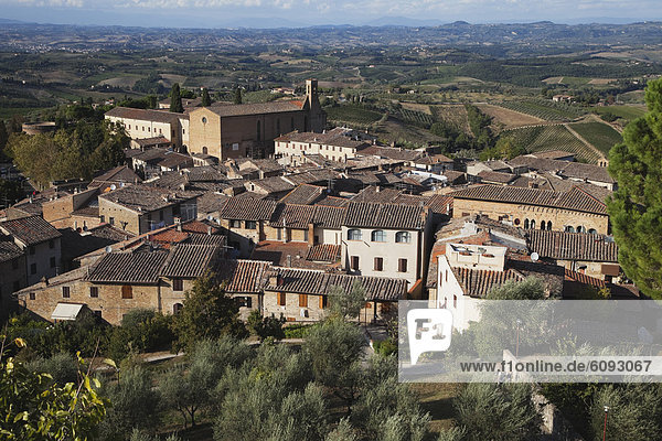 Europe  Italy  Siena Province  View of San Gimignano