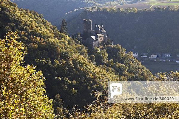 Deutschland  Rheinland-Pfalz  Blick auf die Burg Katz mit dem Rhein Deutschland, Rheinland-Pfalz, Blick auf die Burg Katz mit dem Rhein
