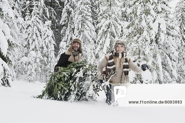 Austria  Salzburg County  Couple pulling christmas tree in winter landscape