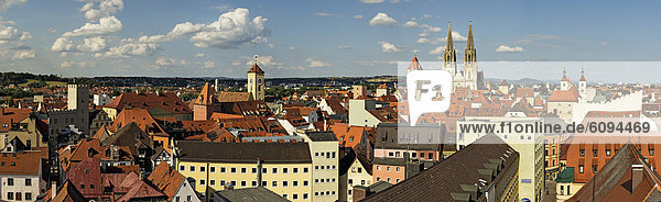 Germany  Bavaria  Regensburg  View of old town